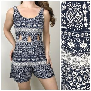 ALTAR'D STATE Navy White Bohemian Cutout Romper Sm